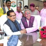 Raipur: Chhattisgarh Congress president Bhupesh Baghel and party leader P.L. Punia celebrate at the party office after the party swept Chhattisgarh Assembly elections, in Raipur on Dec 11, 2018. (Photo: IANS) by .