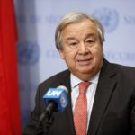 UNITED NATIONS, Nov. 2, 2018 (Xinhua) -- United Nations Secretary-General Antonio Guterres speaks to reporters at the UN headquarters in New York, Nov. 2, 2018. Guterres said Friday that half of Yemenis could face famine, and urged immediate action to prevent the already dire famine situation from getting worse. (Xinhua/Li Muzi/IANS) by .