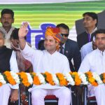 Jaipur: Congress President Rahul Gandhi with party leaders Ashok Gehlot and Sachin Pilot during a party rally in Jaipur, on Jan 9, 2019. (Photo: Ravi Shankar Vyas/IANS) by .