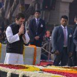 New Delhi: Congress president Rahul Gandhi pays tribute to Mahatma Gandhi on his death anniversary at Raj Ghat in New Delhi on Jan. 30, 2019. (Photo: IANS) by .