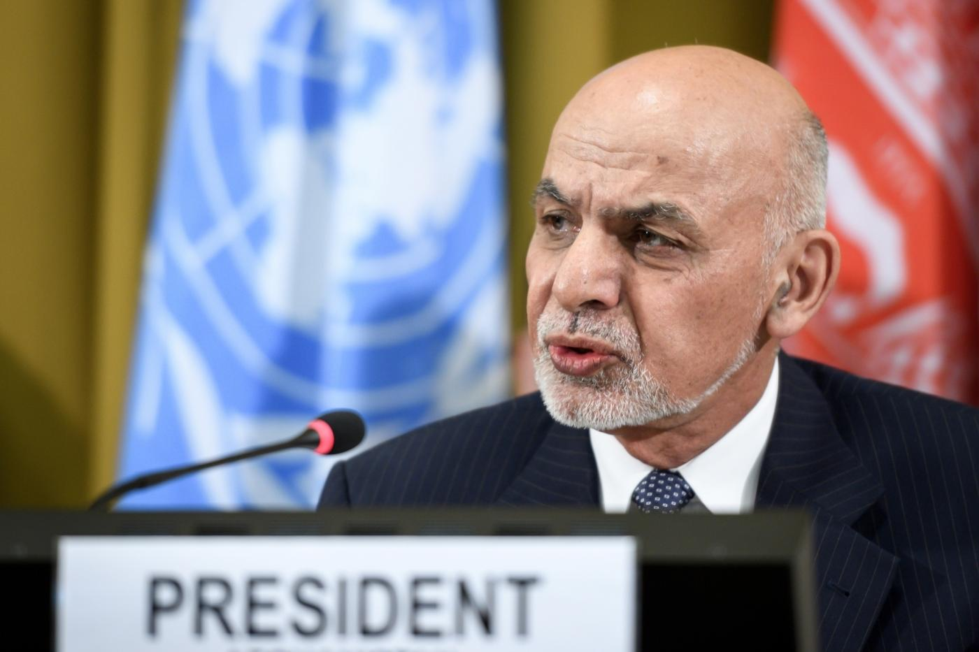 GENEVA, Nov. 28, 2018 (Xinhua) -- Afghan President Ashraf Ghani delivers a speech during the Geneva Conference on Afghanistan at the European headquarters of the United Nations in Geneva, Switzerland, Nov. 28, 2018. A top Afghan security official said that a conference that ended here Wednesday has put a renewed focus on a peace process owned and led by those in the country, and now it is up to Taliban to come forward and play a constructive role. (Xinhua/POOL/Fabrice Coffrini/IANS) by .