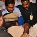 Visakhapatam: YSR Congress Party President Y.S. Jaganmohan Reddy after being discharged from hospital in Visakhapatam on Oct 26, 2018. He was attacked with a knife by a young man who, according to the police, sneaked up to him with a request to take a selfie. (Photo: IANS) by .