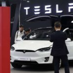 Daegu: esla Motors Inc., a U.S. electric vehicle manufacturer, unveils a Tesla Model X crossover utility vehicle during the International Future Auto Expo at the exhibition and convention center in the southeastern city of Daegu on Nov. 1, 2018.(Yonhap/IANS) by .