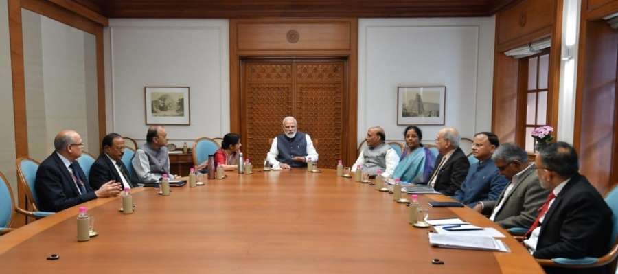 New Delhi: Prime Minister Narendra Modi chairs a meeting of Cabinet Committee on Security (CCS) in New Delhi on Feb 26, 2019. Also seen Union Finance Minister Arun Jaitley, External Affairs Sushma Swaraj, Union Home Minister Rajnath Singh, Defence Minister Nirmala Sitharaman, Foreign Secretary Vijay Gokhale and NSA Ajit Doval. (Photo: IANS) by .