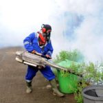 SOUTH TANGERANG, Feb. 17, 2019 (Xinhua) -- A worker sprays anti-mosquito fog at Cendana Residence in South Tangerang, Indonesia, Feb. 17, 2019.Controlling the number of the adult and larval population of the mosquito was essential for reducing transmission of the dengue viruses. As of Feb. 1, 2019, 15,132 cases of dengue fever were reported in Indonesia this year, with a total of 145 deaths, according to the health ministry. (Xinhua/Agung Kuncahya B/IANS) by .