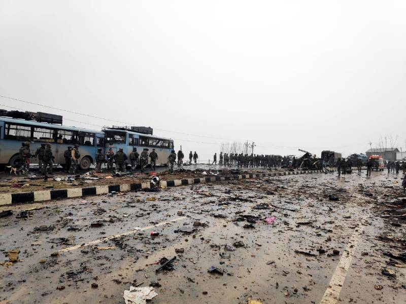 Pulwama: The site on on the Srinagar-Jammu highway where 10 Central Reserve Police Force (CRPF) troopers were killed and 15 others injured in an audacious suicide attack by militants in Jammu and Kashmir's Pulwama district on Feb 14, 2019. All the injured have been shifted to the Army's Base Hospital in Srinagar. (Photo: IANS) by .