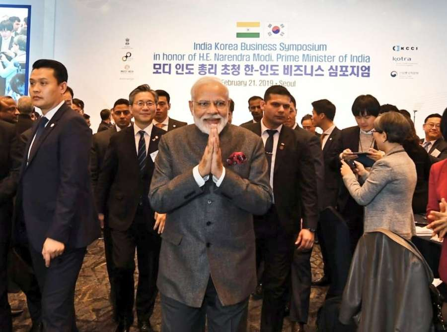 Seoul: Prime Minister Narendra at the India-Korea Business Symposium, in Seoul, South Korea, on Feb 21, 2019. (Photo: IANS/MEA) by .