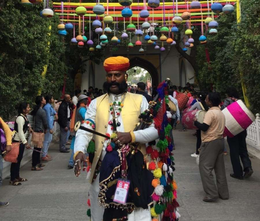 An artiste at the inauguration of 12th Jaipur Literature Festival (JLF) at Diggi Palace. by .