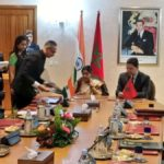 Rabat: External Affairs Minister Sushma Swaraj and Moroccon Foreign Minister Nasser Bourita sign and exchanged four documents in the fields of counter-terrorism, easing of restrictions on business visas, housing and human settlement and youth matters in Rabat, Morocco on Feb 18, 2019. (Photo: IANS/MEA) by .