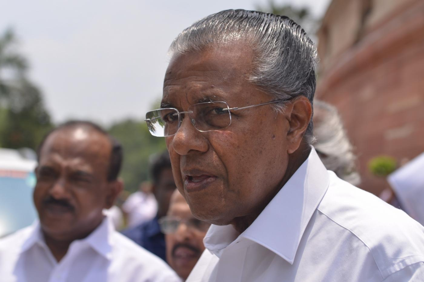 New Delhi: Kerala Chief Minister Pinarayi Vijayan seen leaving after day-2 of Parliament's monsoon session, in New Delhi, on July 19, 2018. (Photo: IANS) by .