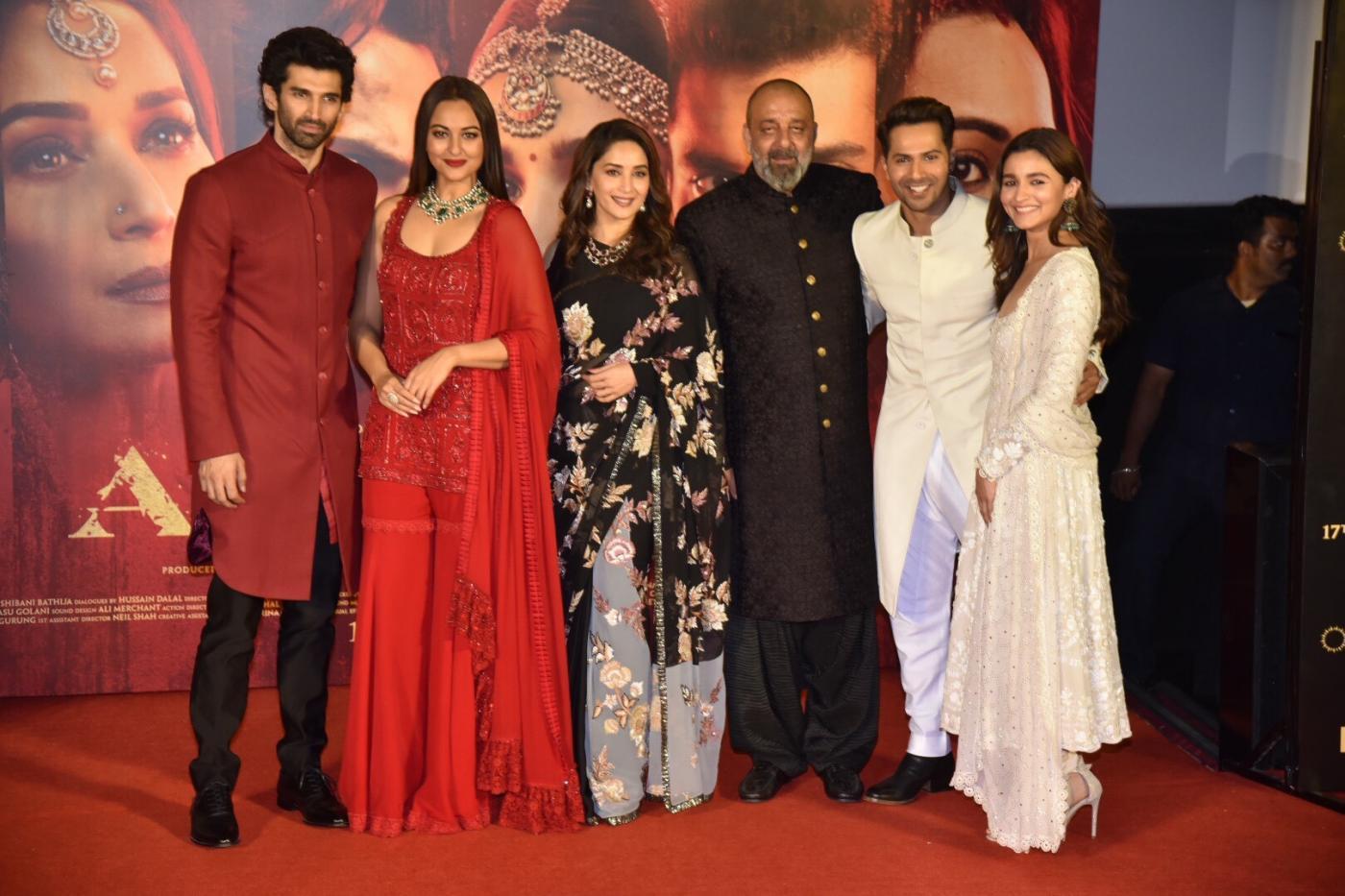 "Mumbai: Actors Aditya Roy Kapoor, Sonakshi Sinha, Madhuri Dixit Nene, Sanjay Dutt, Alia Bhatt and Varun Dhawan at the teaser launch of their upcoming film ""Kalank"" in Mumbai, on March 12, 2019. (Photo: IANS) by ."