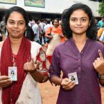 Thiruvananthapuram: Women voters show their inked fingers after casting their votes for the third phase of 2019 Lok Sabha elections in Thiruvananthapuram, Kerala on April 23, 2019. (Photo: IANS/PIB) by .