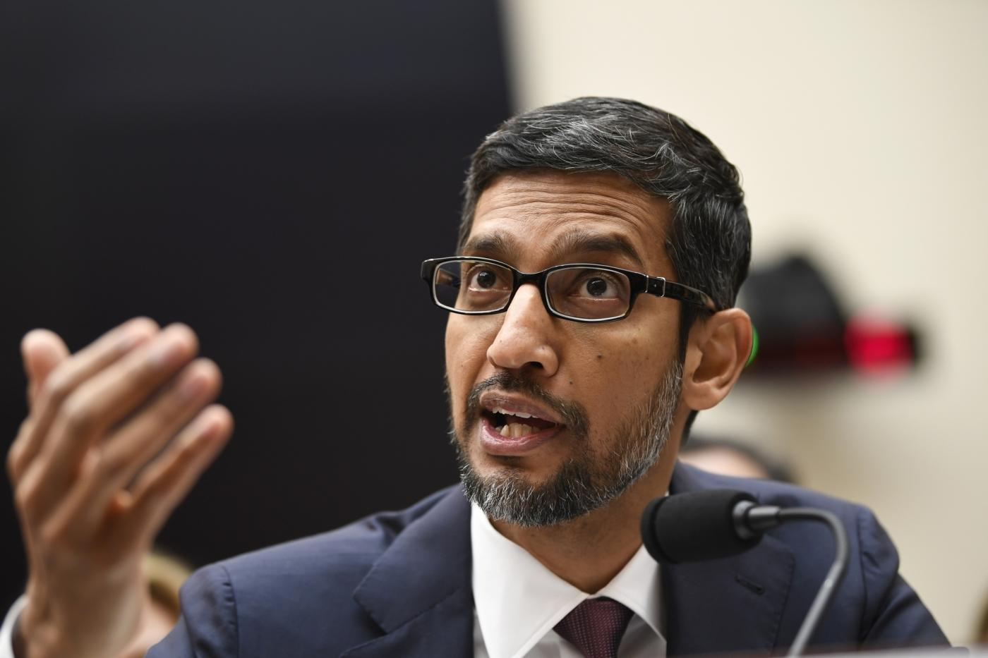 "WASHINGTON, Dec. 11, 2018 (Xinhua) -- Google CEO Sundar Pichai testifies before U.S. House of Representatives Judiciary Committee during a hearing ""Transparency & Accountability: Examining Google and its Data Collection, Use and Filtering Practices"" on Capitol Hill in Washington D.C., the United States, on Dec. 11, 2018. (Xinhua/Liu Jie/IANS) by ."
