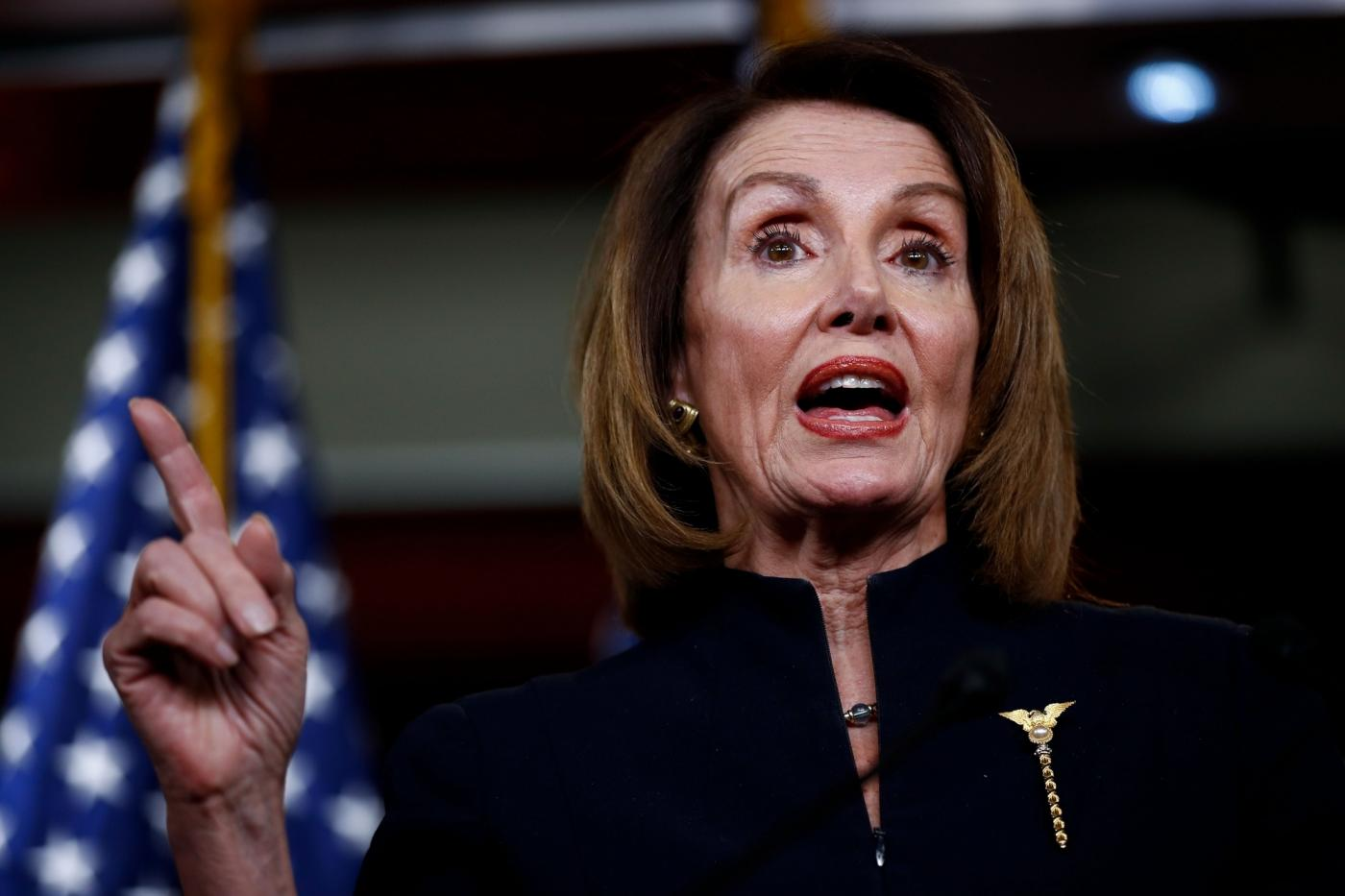 "WASHINGTON, Feb. 14, 2019 (Xinhua) -- U.S. House Speaker Nancy Pelosi speaks during a press conference on Capitol Hill in Washington D.C., the United States, on Feb. 14, 2019. U.S. President Donald Trump is prepared to sign a bipartisan bill on spending and border security to avert another government shutdown, but also declare a national emergency to obtain funds for his long-promised border wall, the White House said Thursday. Nancy Pelosi, the top Democrat in the House, said her party is ""reviewing our options"" in responding to the anticipated emergency declaration. (Xinhua/Ting Shen/IANS) by ."
