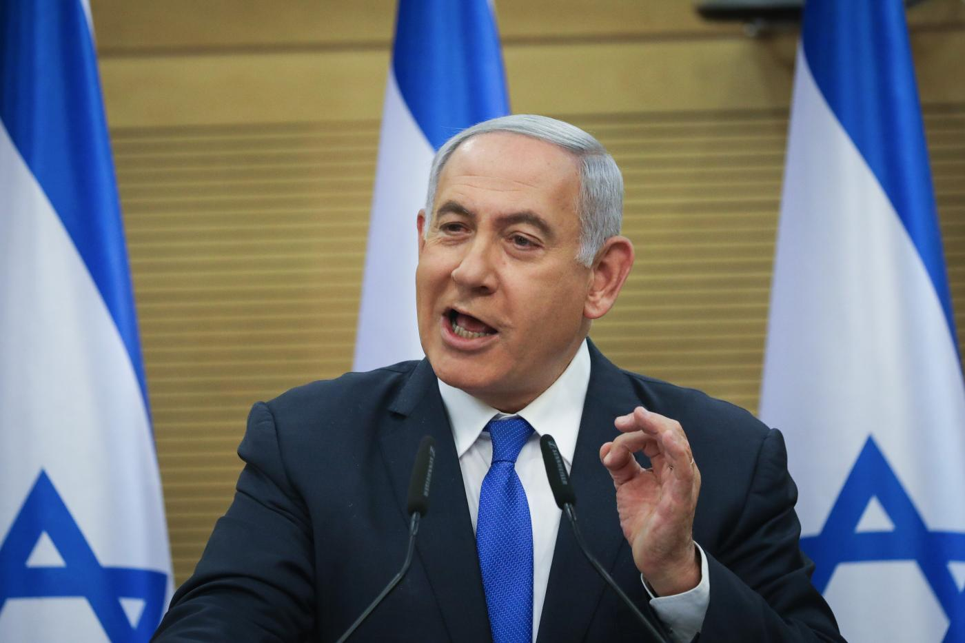 JERUSALEM, May 27, 2019 (Xinhua) -- Israeli Prime Minister Benjamin Netanyahu delivers a statement in Israeli parliament in Jerusalem, on May 27, 2019. Israeli Prime Minister Benjamin Netanyahu announced on Monday that he is making tremendous efforts to form a new government in the last 48 hours before the deadline. However, he admitted that he had not yet persuaded Avigdor Lieberman, head of Yisrael Beiteinu party, to join the coalition. (Xinhua/JINI/IANS) by JINI.