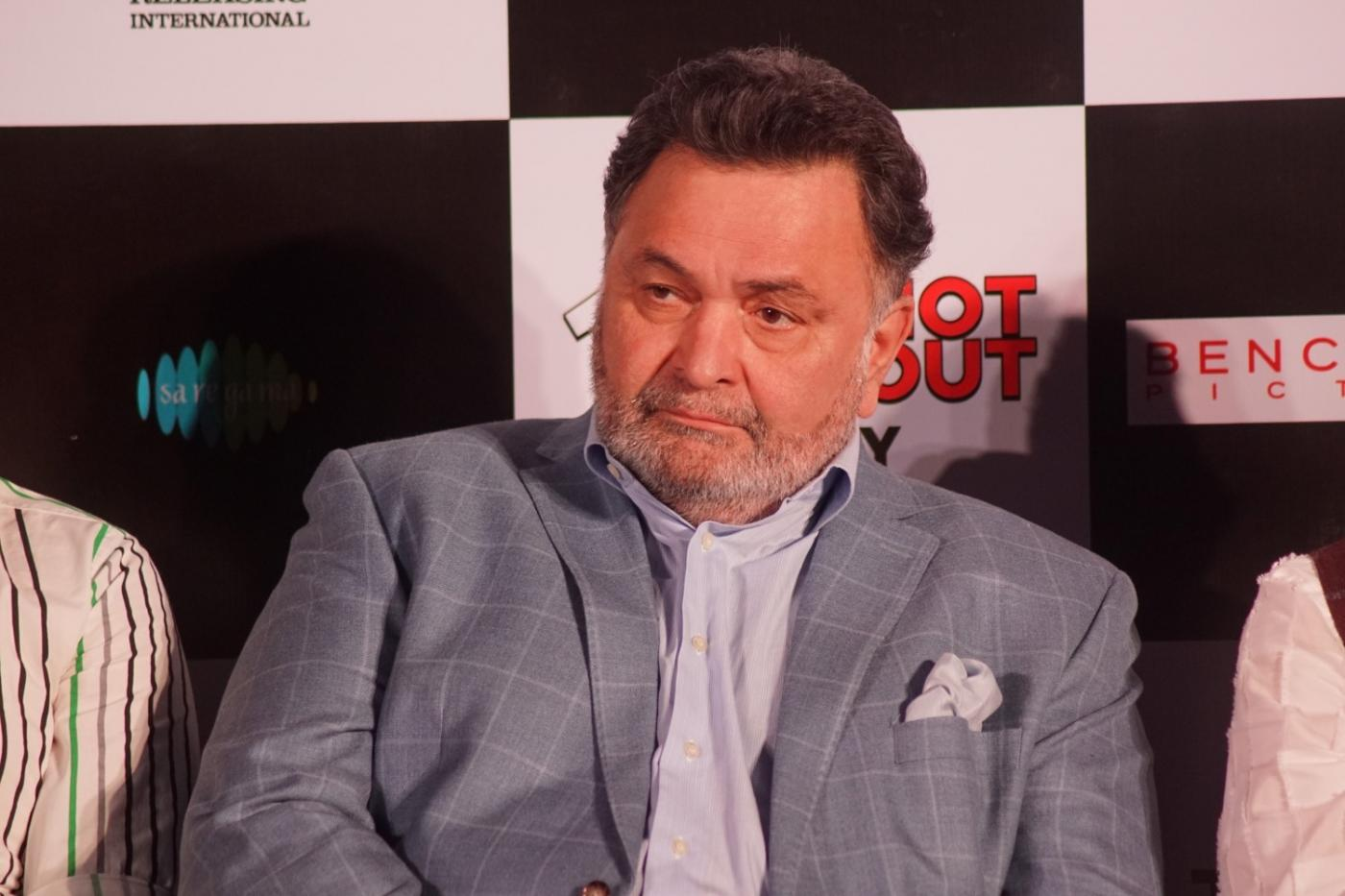 """Mumbai: Actor Rishi Kapoor at the song launch of his upcoming film """"102 Not Out"""" in Mumbai on April 19, 2018. (Photo: IANS) by ."""