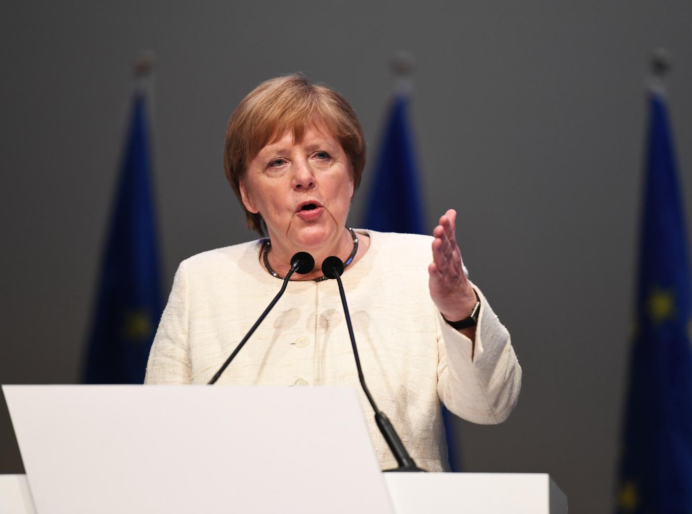 "MUNICH, May 24, 2019 (Xinhua) -- German Chancellor Angela Merkel speaks during Manfred Weber's last campaign rally ahead of the election in Munich, Germany, on May 24, 2019. ""Europe stands for security and prosperity,"" Manfred Weber, top candidate of the European People's Party (EPP) for the European elections, said here Friday, calling on voters to defend Europe against nationalism. (Xinhua/Lu Yang/IANS) by ."
