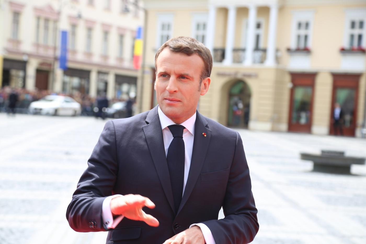"SIBIU, May 9, 2019 (Xinhua) -- French President Emmanuel Macron arrives in the Grand Square in front of the Sibiu City Hall to attend the European Union (EU) informal summit in Sibiu, Romania, May 9, 2019. The leaders of the EU member states on Thursday agreed on defending ""one Europe"" and upholding the rules-based international order in their ""10 commitments"" declaration, made at an informal summit in Sibiu. (Xinhua/Chen Jin/IANS) by ."