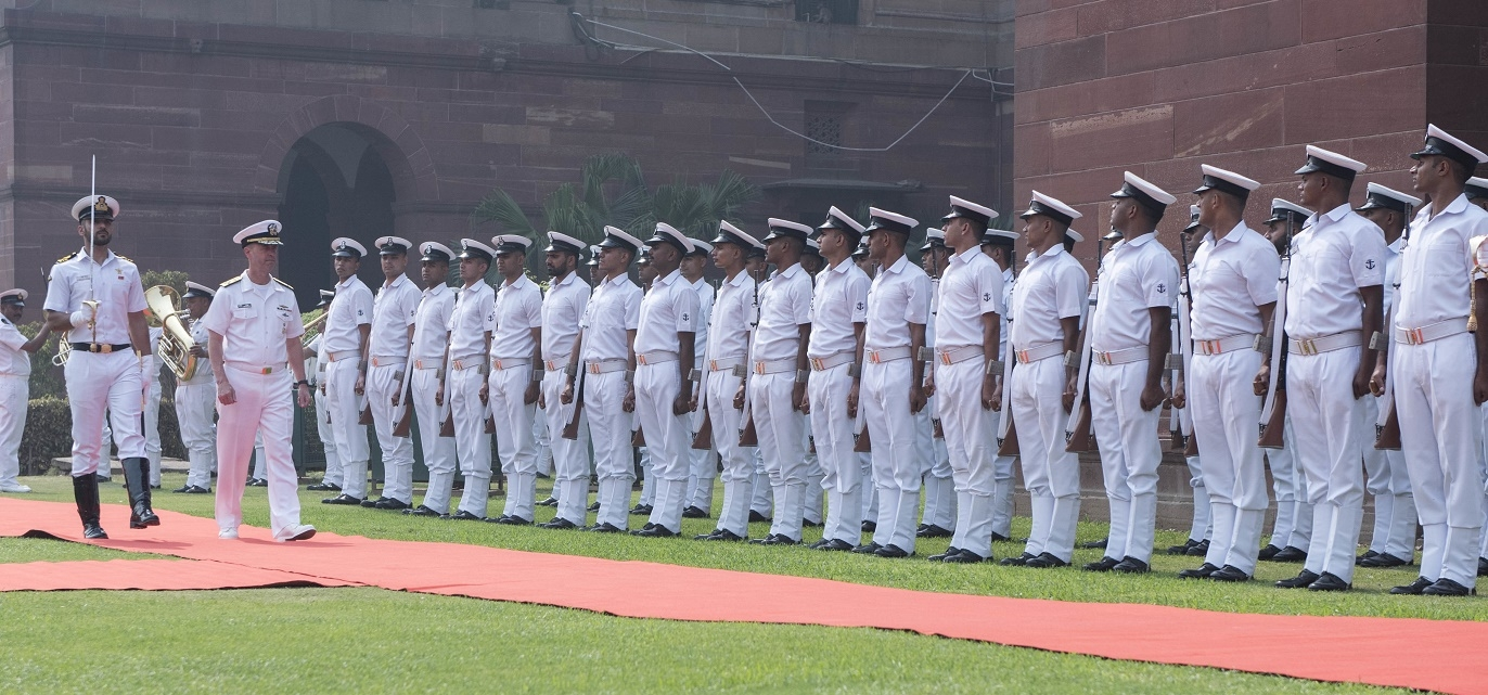 US Navy chief Admiral John Richardson inspects a guard of honour in New Delhi on Monday, May 13. (Photo: US Navy/IANS) by .