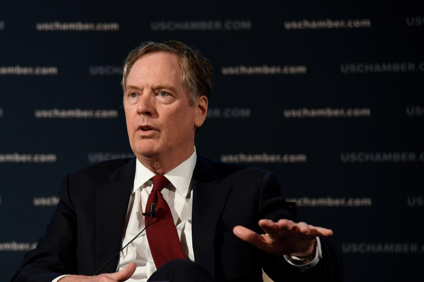 WASHINGTON D.C., May 3, 2018 (Xinhua) -- U.S. Trade Representative (USTR) Robert Lighthizer speaks at an event hosted by the U.S. Chamber of Commerce in Washington D.C., the United States, on May 1, 2018. Lighthizer said on Tuesday that he hoped to reach a deal to overhaul the North American Free Trade Agreement (NAFTA) in mid-May, which could buy more time for the current Congress to approve the deal. (Xinhua/Yang Chenglin/IANS) by .