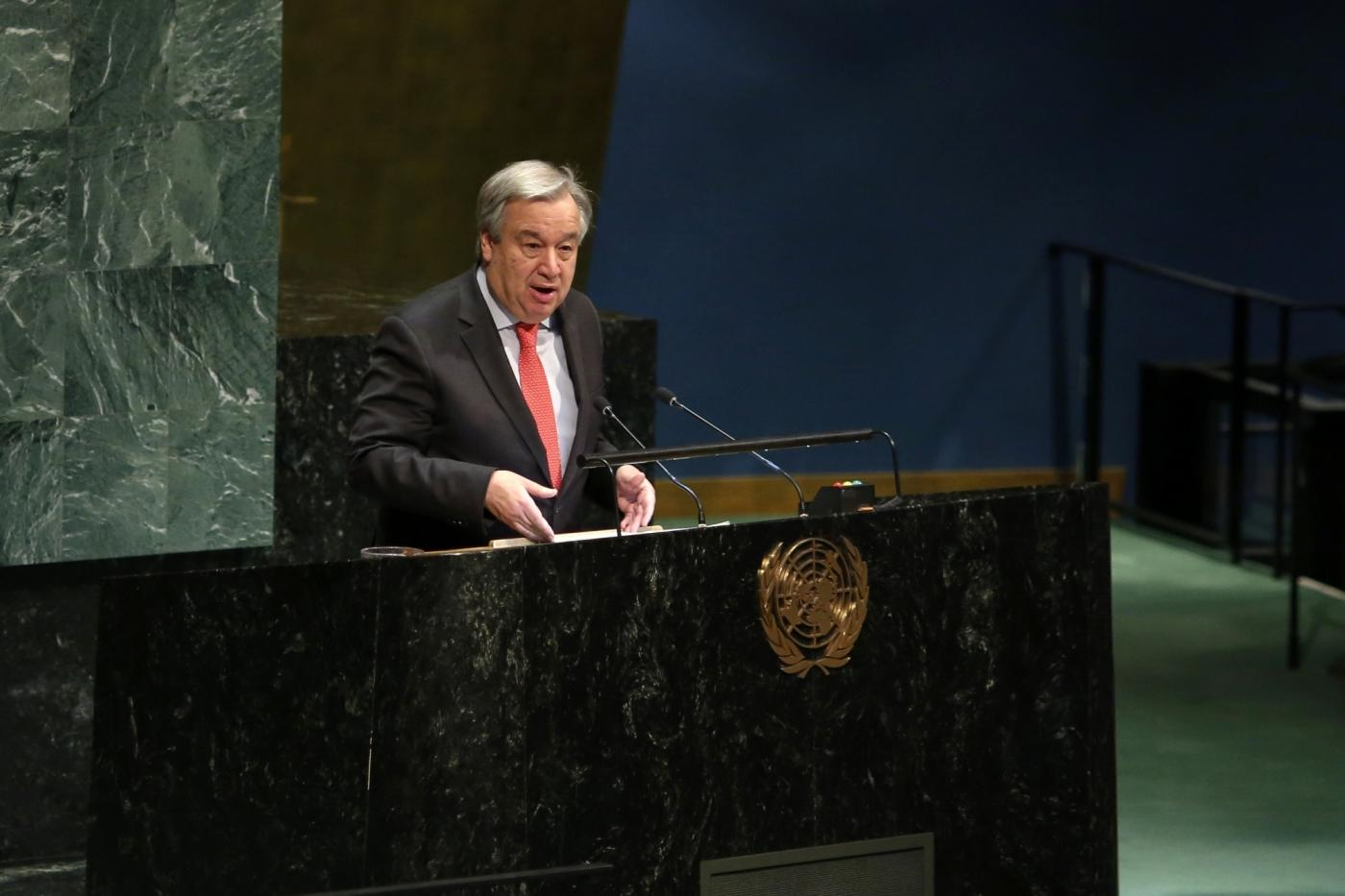 """UNITED NATIONS, March 11, 2019 (Xinhua) -- United Nations Secretary-General Antonio Guterres addresses the opening of the 63rd Session of the Commission on the Status of Women (CSW63), at the UN headquarters in New York, March 11, 2019. United Nations Secretary-General Antonio Guterres on Monday warned that there is a """"pushback"""" on women's rights globally. (Xinhua/Li Muzi/IANS) by ."""