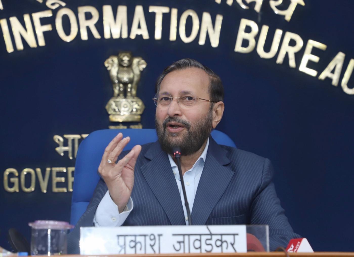 New Delhi: Union Human Resource Development Minister Prakash Javadekar addresses a press conference, in New Delhi, on Feb 20, 2019. (Photo: IANS/PIB) by .