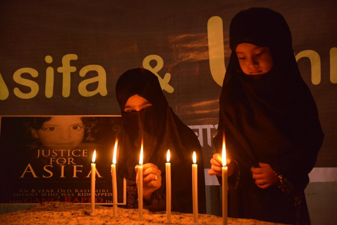 Ajmer: Children light candles to condemn incidents of rape in Unnao (Uttar Pradesh) and Kathua (Jammu and Kashmir) in Ajmer, on April 16, 2018. (Photo: Shaukat Ahmed/IANS) by .
