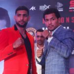 New Delhi: Indian boxer Neeraj Goyat and British boxer Amir Khan during a press conference ahead of their face off at the World Boxing Championship that will take place on July 12, 2019 at the King Abdullah Sports City in Jeddah, Saudi Arabia; in New Delhi on May 31, 2019. (Photo: IANS) by .