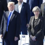 BRUSSELS, May 25, 2017 (Xinhua) -- U.S. President Donald Trump (L) and British Prime Minister Theresa May (R) attend the handover ceremony of the new NATO headquarters during a one-day NATO Summit, in Brussels, Belgium, May 25, 2017. (Xinhua/Ye Pingfan/IANS) by .