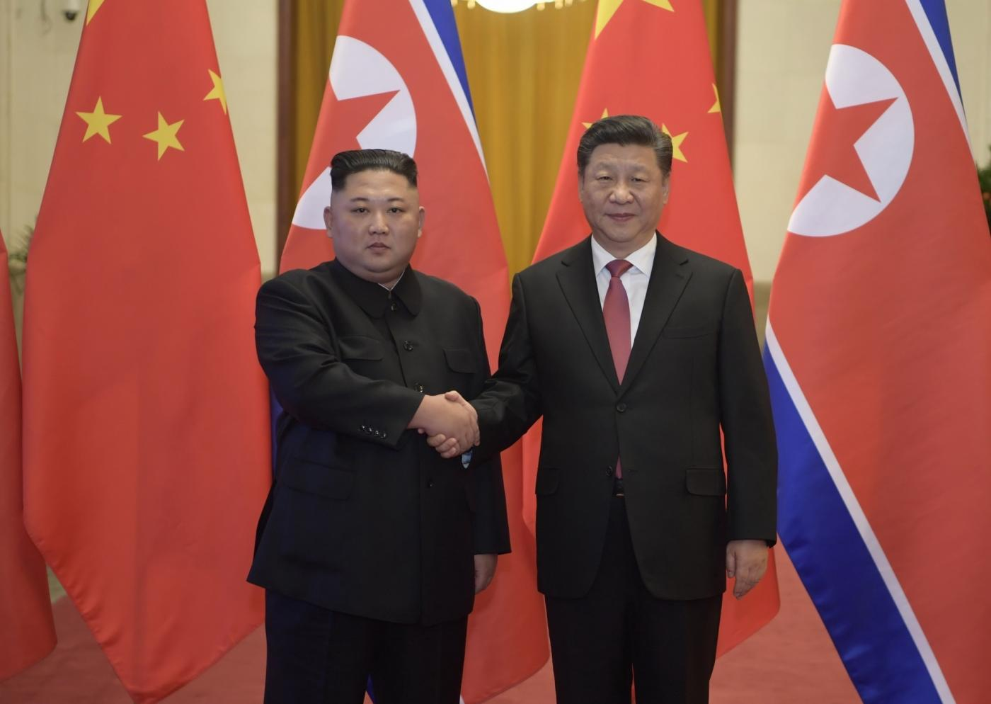 BEIJING, Jan. 10, 2019 (Xinhua) -- Xi Jinping (R), general secretary of the Central Committee of the Communist Party of China and Chinese president, holds a welcoming ceremony for Kim Jong Un, chairman of the Workers' Party of Korea and chairman of the State Affairs Commission of the Democratic People's Republic of Korea, before their talks at the Great Hall of the People in Beijing, capital of China, Jan. 8, 2019. Xi Jinping on Tuesday held talks with Kim Jong Un, who arrived in Beijing on the same day for a visit to China. (Xinhua/Li Xueren/IANS) by .