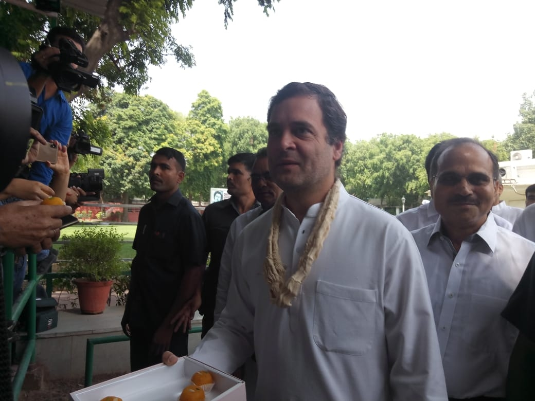 New Delhi: Congress President Rahul Gandhi arrives to meet party workers and leaders on his birthday at party head quarters in New Delhi on June 19, 2019. (Photo: IANS) by .