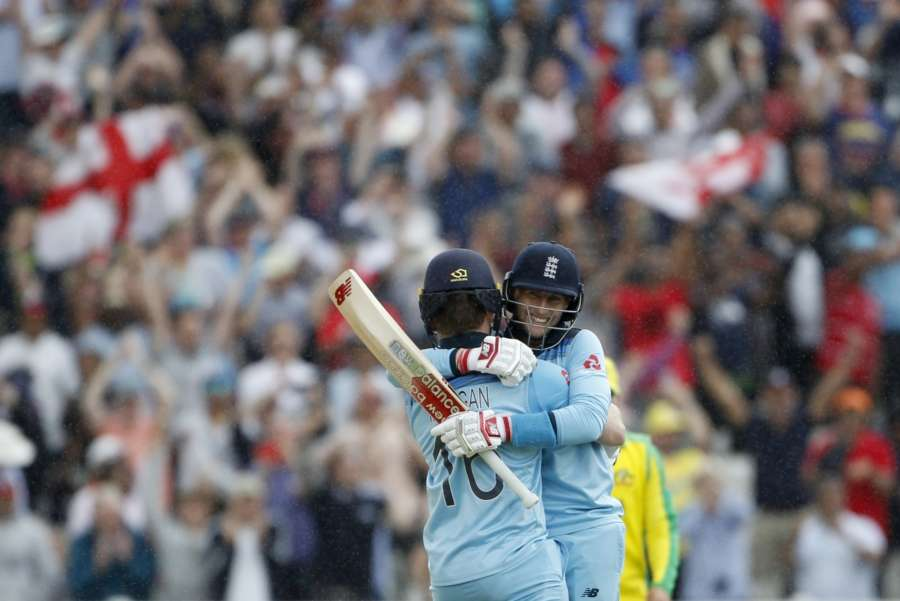 Birmingham: England's Eoin Morgan and Joe Root celebrate after winning the second semi-final match of the 2019 World Cup between against Australia at the Edgbaston Cricket Stadium in Birmingham, England on July 11, 2019. England won by 8 wickets. (Photo: Surjeet Kumar/IANS) by .