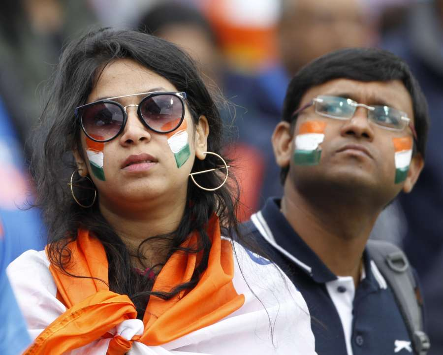 Manchester: An Indian fan reacts after India lost to New Zealand in the 1st Semi-final match of 2019 World Cup at Old Trafford in Manchester, England on July 10, 2019. (Photo: Surjeet Kumar/IANS) by .