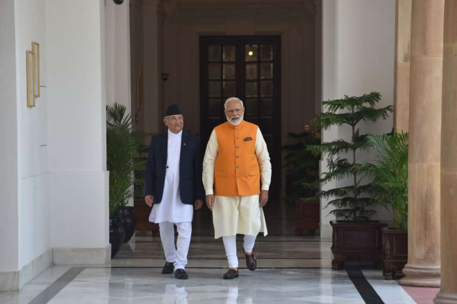 New Delhi: Prime Minister Narendra Modi and Nepal Prime Minister K.P. Sharma Oli at Hyderabad House in New Delhi, on May 31, 2019. (Photo: IANS/MEA) by .