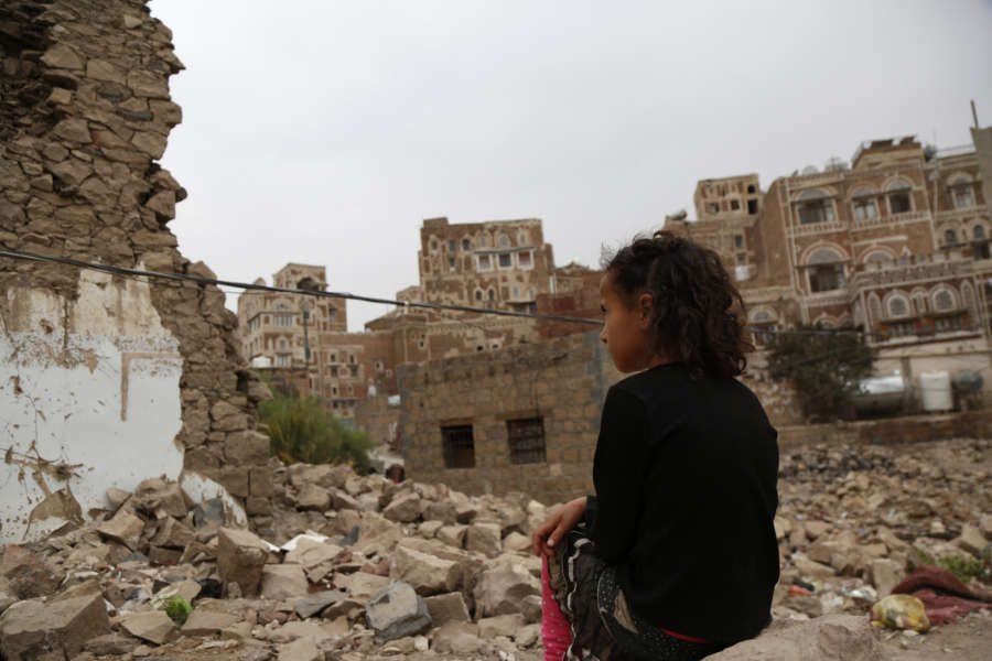SANAA, July 7, 2019 (Xinhua) -- A girl looks at a historic building destroyed in an airstrike in the Old City of Sanaa, Yemen, on July 7, 2019. Many historic buildings in the Old City of Sanaa have been destroyed in a civil war between pro-government Yemeni forces and the Houthi rebels since the Houthi rebels overran much of the country militarily and seized all northern provinces in 2014. (Xinhua/Mohammed Mohammed/IANS) by .