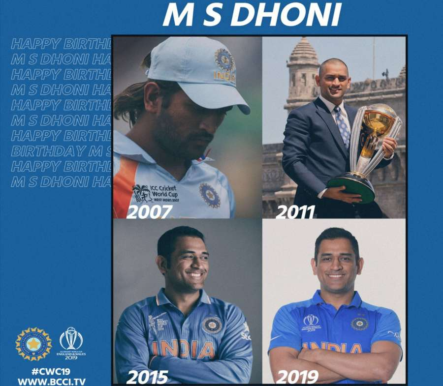 "Board of Control for Cricket in India (BCCI) took to Twitter to wish the wicketkeeper-batsman and said: ""Four World Cups, four different looks, which one do you like the most? Take a pick. Happy Birthday Dhoni."" by ."