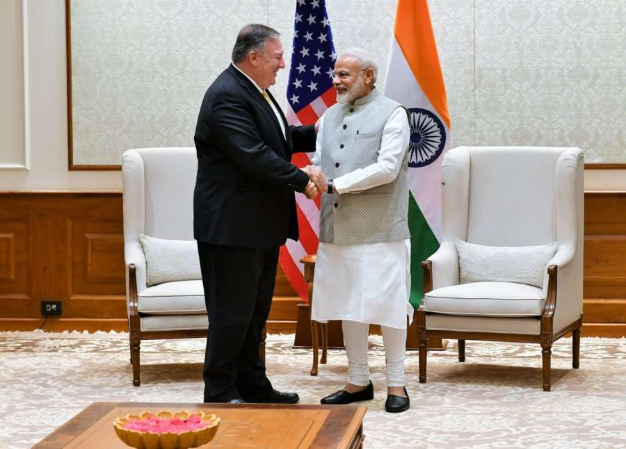 New Delhi: US Secretary of State Mike Pompeo meets Prime Minister Narendra Modi in New Delhi on June 26, 2019. (Photo: IANS/PIB) by .