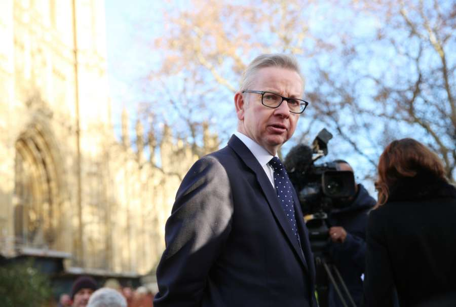 LONDON, Dec. 13, 2018 (Xinhua) -- British Secretary of State for Environment, Food and Rural Affairs Michael Gove speaks to the media outside the Houses of Parliament in London, Britain, Dec. 12, 2018. British Prime Minister Theresa May is likely to survive a vote of no confidence late Wednesday as 158 Conservative members of parliament publicly voiced support for her, British media reported. (Xinhua/Isabel Infantes/IANS) by .