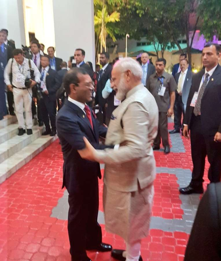 Male: Prime Minister Narendra Modi meets Speaker of Parliament of Maldives Mohamed Nasheed in Male, on June 8, 2019. (Photo: IANS/MEA) by .