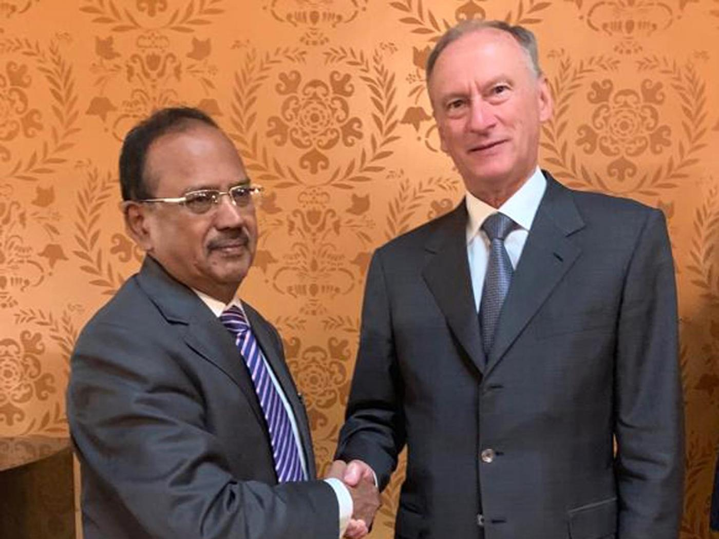 New Delhi: National Security Advisor Ajit Doval meets his Russian counterpart Nikolai Patrushev in Moscow. (Photo: IANS) by .
