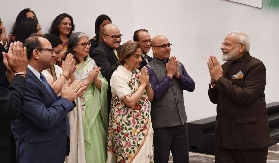 Houston: Prime Minister Narendra Modi meets a delegation of Kashmiri Pandits in Houston, US on Sep 22, 2019. (Photo: IANS/MEA) by .