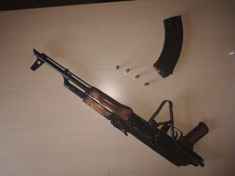 Patna: An AK-47 assault rifle that has been recovered along with some cartridges and bombs by the police from the ancestral house of independent MLA Anant Singh, who represents Mokama at Ladma in Barh of Patna district, on Aug 17, 2019. (Photo: IANS) by .