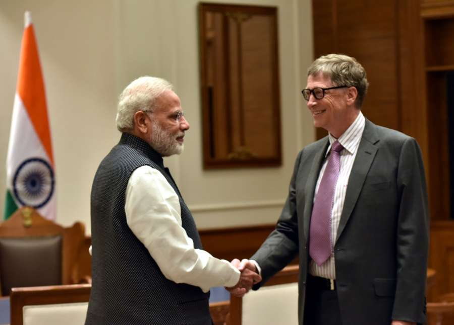New Delhi: Bill & Melinda Gates Foundation Co-Chairman Bill Gates calls on Prime Minister Narendra Modi in New Delhi on Nov 16, 2016. (Photo: IANS/PIB) by .