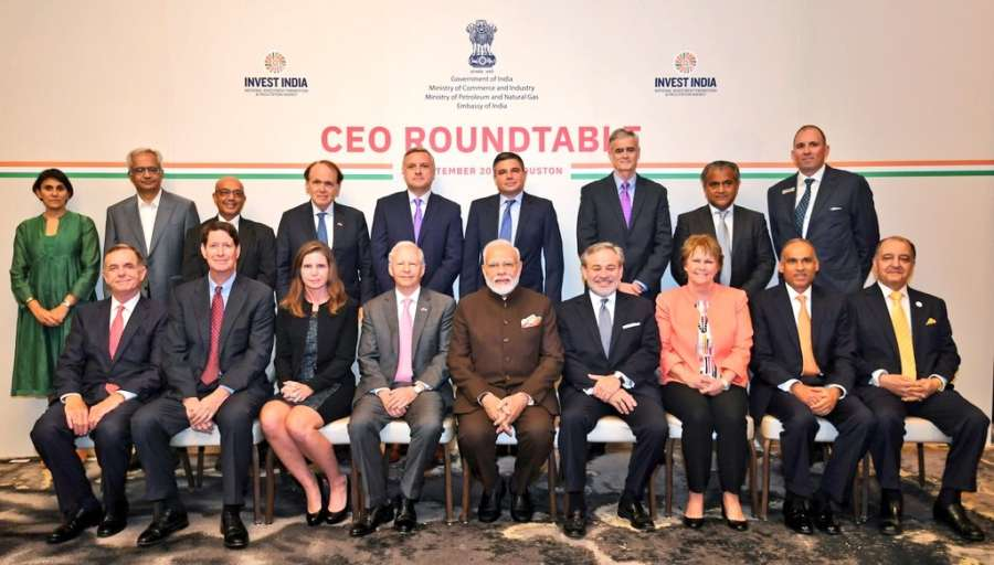 Houston: Prime Minister Narendra Modi during a meeting with the CEOs of the companies working in energy sector in Houston, US on Sep 22, 2019. (Photo: IANS/MEA) by .