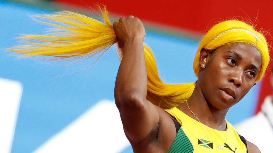 DOHA, Sept. 29, 2019 (Xinhua) -- Shelly-Ann Fraser-Pryce of Jamaica touches her hair before the women's 100m heats at the 2019 IAAF World Championships in Doha, Qatar, Sept. 28, 2019. (Xinhua/Wang Lili/IANS) by Wang Lili.