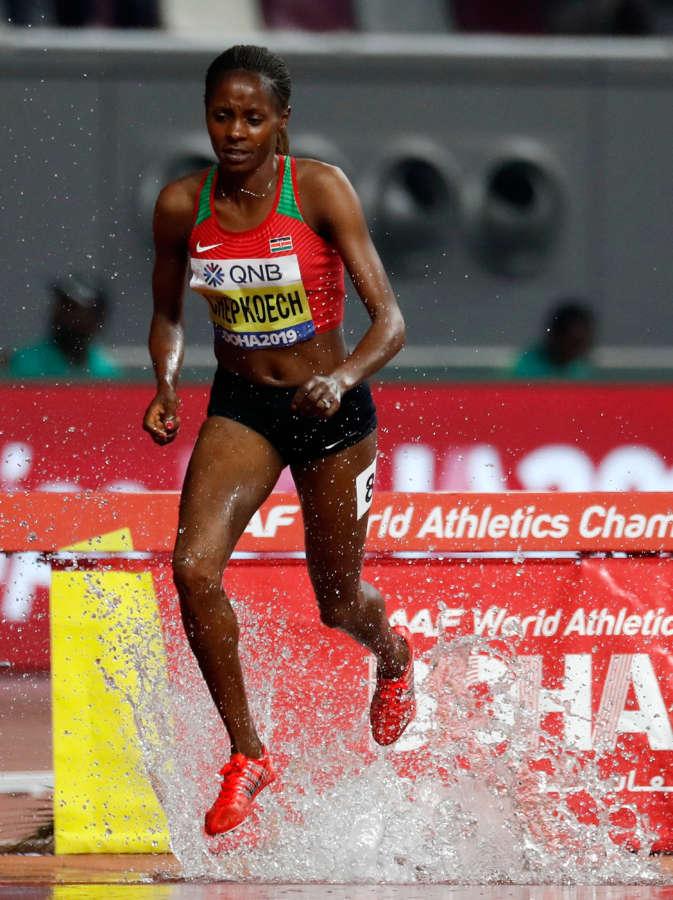 DOHA, Oct. 1, 2019 (Xinhua) -- Beatrice Chepkoech of Kenya competes during the women's 3000m steeplechase final at the 2019 IAAF World Championships in Doha, Qatar, Sept. 30, 2019. (Xinhua/Wang Lili/IANS) by Wang Lili.