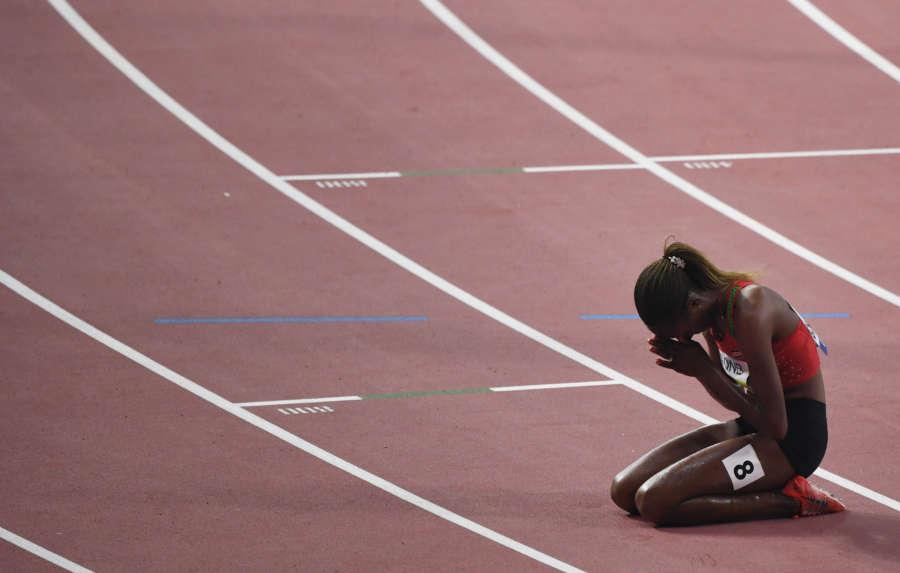DOHA, Oct. 1, 2019 (Xinhua) -- Beatrice Chepkoech of Kenya celebrates after the women's 3000m steeplechase final at the 2019 IAAF World Championships in Doha, Qatar, Sept. 30, 2019. (Xinhua/Jia Yuchen/IANS) by Jia Yuchen.