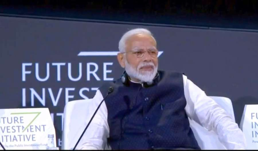 Riyadh: Prime Minister Narendra Modi addresses at the Future Investment Initiative Forum in Riyadh, Saudi Arabia on Oct 29, 2019. (Photo: IANS) by .