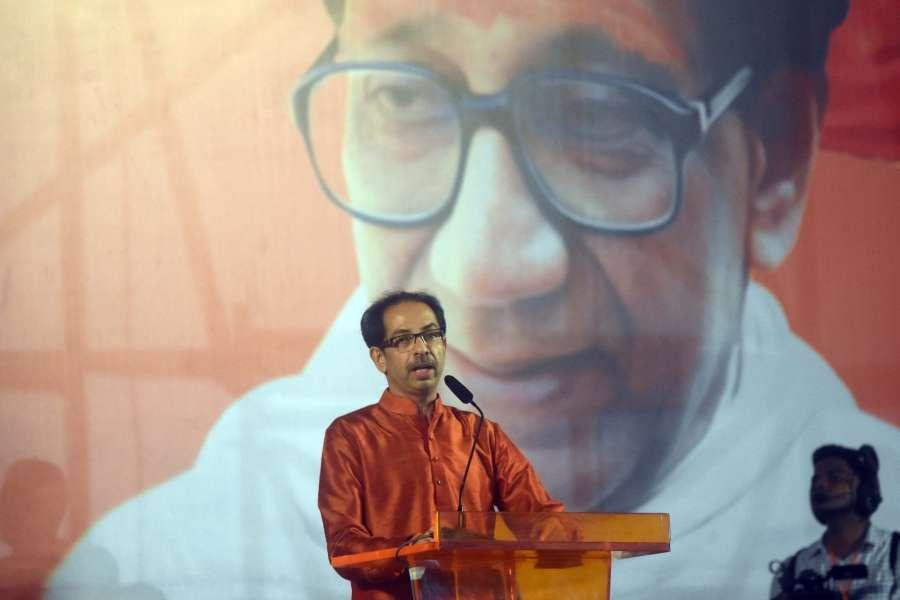 Mumbai: Shiv Sena chief Uddhav Thackeray addresses a party rally in Mumbai on Oct 8, 2019. (Photo: IANS) by .