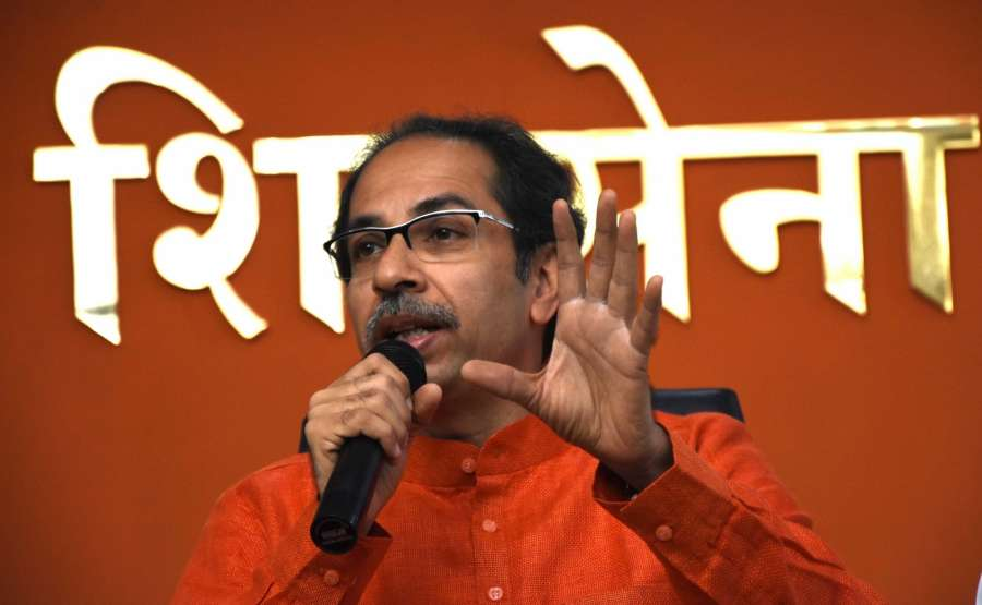 Mumbai: Shiv Sena chief Uddhav Thackeray addresses a press conference on the Supreme Court's verdict in the Ayodhya title dispute case, in Mumbai on Nov 9, 2019. (Photo: IANS) by .